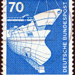 "GERMANY - CIRCA 1975: A stamp printed in Germany from the ""Industry and Technology"" issue shows Shipbuilding, circa 1975. - Stock Photo"