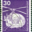 "GERMANY - CIRCA 1975: A stamp printed in Germany from the ""Industry and Technology"" issue shows a MBB-Bolkow Bo 105C rescue helicopter, circa 1975. — Stock Photo"