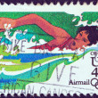 "USA - CIRCA 1983: A stamp printed in USA from the ""Summer Olympic Games, Los Angeles 1984"" issue shows a swimming athlete, circa 1983. — Stock Photo"