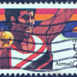 "USA - CIRCA 1983: A stamp printed in USA from the ""Summer Olympic Games, Los Angeles 1984"" issue shows a shot putting athlete, circa 1983. — Stock Photo"