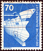 "GERMANY - CIRCA 1975: A stamp printed in Germany from the ""Industry and Technology"" issue shows Shipbuilding, circa 1975. — Stock Photo"