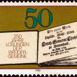 GERMANY - CIRCA 1980: A stamp printed in Germany issued for the 250th anniversary of Moravian Brethren's Book of Daily Bible Readings shows First Book of Daily Bible Readings, 1731, circa 1980. - Stock Photo