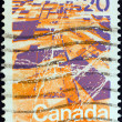 Stock Photo: CANAD- CIRC1972: stamp printed in Canadshows prairie landscape from air, circ1972.