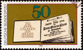 GERMANY - CIRCA 1980: A stamp printed in Germany issued for the 250th anniversary of Moravian Brethren's Book of Daily Bible Readings shows First Book of Daily Bible Readings, 1731, circa 1980. — Stock Photo