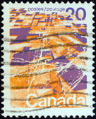 CANADA - CIRCA 1972: A stamp printed in Canada shows prairie landscape from the air, circa 1972. — Stock Photo