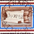 "GREECE - CIRCA 1968: A stamp printed in Greece issued for the 20th anniversary of Dodecanese union with Greece shows ""the unknown priest and teacher"" monument at Rhodes island, circa 1968. — Stock Photo #11099506"