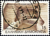 GREECE - CIRCA 1985: A stamp printed in Greece shows the Catacombs of Milos island, circa 1985. — Stock Photo