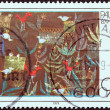 "GERMANY - CIRCA 1979: A stamp printed in Germany issued for the birth centenary of painter Paul Klee (1879-1940) shows ""Bird Garden"" painting, circa 1979. - Lizenzfreies Foto"