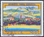 "ITALY - CIRCA 1980: A stamp printed in Italy from the ""Tourist Publicity (7th series)"" issue shows Roseto degli Abruzzi, circa 1980. — Stock Photo"