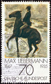 "GERMANY - CIRCA 1978: A stamp printed in Germany from the ""Impressionist Paintings"" issue shows ""Horseman on the shore turning left"" by Max Liebermann (1847-1935), circa 1978. — Stock Photo"
