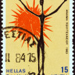 """GREECE - CIRCA 1983: A stamp printed in Greece from the """"10th anniversary of Polytechnic School Uprising"""" issue shows a poster by Vasso Katraki, circa 1983. — Stock Photo"""