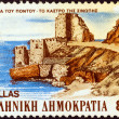 "GREECE - CIRCA 1985: A stamp printed in Greece from the ""Pontic Hellenism Cultural Reformation"" issue shows Sinope castle, circa 1985. — Stock Photo"
