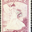 GREECE - CIRCA 1945: A stamp printed in Greece shows allegorical figure of Glory of Psara by Nikolaos Gyzis, circa 1945. - Stock Photo