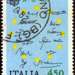 "ITALY - CIRCA 1982: A stamp printed in Italy from the ""Europa"" issue shows Treaty of Rome (Treaty establishing the European Economic Community) signatures, circa 1982. — Stock Photo"