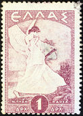 GREECE - CIRCA 1945: A stamp printed in Greece shows allegorical figure of Glory of Psara by Nikolaos Gyzis, circa 1945. — Stock Photo