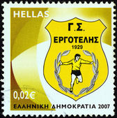 """GREECE - CIRCA 2007: A stamp printed in Greece from the """"Soccer Team Emblems"""" issue shows """"Ergotelis"""" emblem, circa 2007. — Stock Photo"""