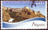 "GREECE - CIRCA 2010: A stamp printed in Greece from the ""Greek Islands"" issue shows Lemnos island, circa 2010. — Stock Photo"