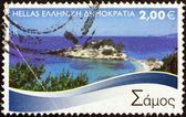 "GREECE - CIRCA 2010: A stamp printed in Greece from the ""Greek Islands"" issue shows Samos island, circa 2010. — Stock Photo"
