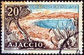 "FRANCE - CIRCA 1954: A stamp printed in France from the ""Views"" issue shows Ajaccio Bay, Corsica, circa 1954. — Stock Photo"