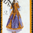 "GREECE - CIRCA 1974: A stamp printed in Greece from the ""Traditional Greek Costumes 3rd part"" issue shows a woman with traditional clothing from Epirus, circa 1974. — Stock Photo"