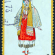 "GREECE - CIRCA 1972: A stamp printed in Greece from the ""Traditional Greek Costumes 1st part"" issue shows a woman with traditional clothing from Nisyros island, Dodecanese, circa 1972. — Stock Photo"