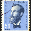 "Stock Photo: TURKEY - CIRC1964: stamp printed in Turkey from ""Famous persons"" issue shows portrait of author Recaizade Mahmut Ekrem, circ1964."
