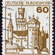 "Stock Photo: GERMANY - CIRC1977: stamp printed in Germany from ""Strongholds and castles"" issue shows Marksburg castle, circ1977."
