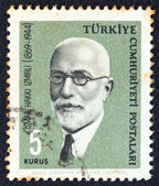 "TURKEY - CIRCA 1964: A stamp printed in Turkey from the ""Famous persons"" issue shows a portrait of Islamist philosopher and author Ismail Hakki Izmirli, circa 1964. — Stock Photo"