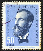 """TURKEY - CIRCA 1964: A stamp printed in Turkey from the """"Famous persons"""" issue shows a portrait of author Recaizade Mahmut Ekrem, circa 1964. — Stock Photo"""
