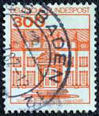 """GERMANY - CIRCA 1977: A stamp printed in Germany from the """"Strongholds and castles"""" issue shows Herrenhausen castle, Hanover, circa 1977. — Stock Photo"""