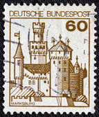 """GERMANY - CIRCA 1977: A stamp printed in Germany from the """"Strongholds and castles"""" issue shows Marksburg castle, circa 1977. — Stock Photo"""