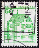 "GERMANY - CIRCA 1977: A stamp printed in Germany from the ""Strongholds and castles"" issue shows Inzlingen castle, circa 1977. — Stock Photo"