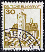 "GERMANY - CIRCA 1977: A stamp printed in Germany from the ""Strongholds and castles"" issue shows Ludwigstein castle, Werratal, circa 1977. — Stock Photo"
