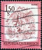 австрия - около 1973: марку, напечатанную в австрии показывает блуденц, около 1973. — Стоковое фото