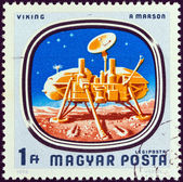 """HUNGARY - CIRCA 1976: A stamp printed in Hungary from the """"Space Probes to Mars and Venus"""" issue shows Viking on Mars, circa 1976. — Stock Photo"""