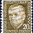 "US- CIRC1965: stamp printed in USfrom ""Prominent Americans (1st series)"" issue shows George C. Marshall, circ1965. — Stock Photo #11338575"