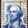 "Stock Photo: US- CIRC1965: stamp printed in USfrom ""Prominent Americans (1st series)"" issue shows Washington (after Rembrandt Peale), circ1965."