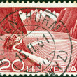 SWITZERLAND - CIRCA 1949: A stamp printed in Switzerland shows Grimsel Reservoir, circa 1949. — Stock Photo #11348922