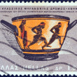 "GREECE - CIRCA 1967: A stamp printed in Greece from the ""Sports Events, VII classic marathon race, Athens"" issue shows Marathon Cup, first Olympics (1896), Spyros Louis winner, circa 1967. — Stock Photo"