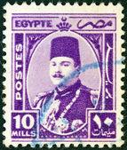 Egypten - circa 1936: en stämpel tryckt i Egypten visar ett porträtt av sultan och kung fuad i, circa 1936. — Stockfoto