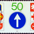 "GERMANY - CIRCA 1979: A stamp printed in Germany from the ""Rescue Services on the Road"" issue shows Rescue Services Emblems, circa 1979. — Stock Photo"