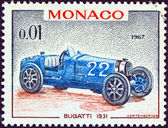 "MONACO - CIRCA 1967: A stamp printed in Monaco from the ""25th Grand Prix, Monaco"" issue shows a Bugatti type 51 Grand Prix racing car of 1931, winner of Monaco Grand prix, circa 1967. — Stock Photo"