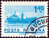 "ROMANIA - CIRCA 1974: A stamp printed in Romania from the ""ships"" issue shows Freighter ""Dimbovita"", circa 1974. — Stock Photo"