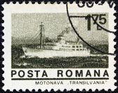 "ROMANIA - CIRCA 1974: A stamp printed in Romania from the ""ships"" issue shows liner ""Transylvania& quot;, circa 1974. — Stock Photo"