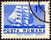 "ROMANIA - CIRCA 1974: A stamp printed in Romania from the ""ships"" issue shows Cadet barque ""Mircea"", circa 1974. — Stock Photo"