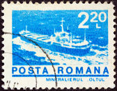 "ROMANIA - CIRCA 1974: A stamp printed in Romania from the ""ships"" issue shows Bulk carrier ""Oltul"", circa 1974. — Zdjęcie stockowe"