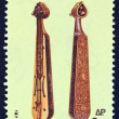 "GREECE - CIRCA 1975: A stamp printed in Greece from the '""traditional musical instruments"" issue shows a Pontian lyra, circa 1975. — Stock Photo"