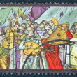 "GREECE - CIRCA 1975: A stamp printed in Greece from the '""traditional musical instruments"" issue shows a traditional band of ecclesiastic musicians praising God, circa 1975. — Stock Photo"