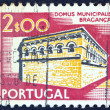 "PORTUGAL - CIRCA 1974: A stamp printed in Portugal from the ""Cities and landscapes"" issue shows Domus Municipalis, Braganca,circa 1974. - Stock Photo"