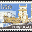 "PORTUGAL - CIRCA 1972: A stamp printed in Portugal from the ""Cities and landscapes"" issue shows Belem Tower, Lisbon ,circa 1972. — Stock Photo #11401246"